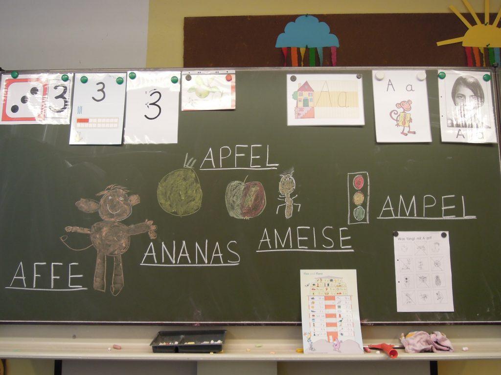 """Auf dem Bild sieht man eine Tafel mit verschiedenen Wörtern zum Thema """"A"""" (Affe, Apfel, Ananas, Ameise, Ampel), sowie verschiedenes zur Zahl 3."""