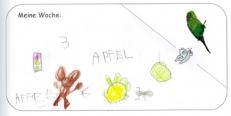 """Ein Kind hat Verschiedenes zum Thema """"A"""" geschrieben und gemalt."""