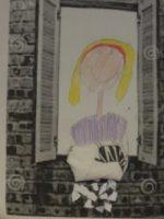 Das Bild zeigt eine von einem Kind gemalte Frau Holle.